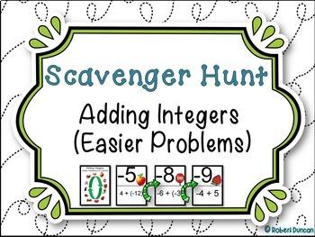 Adding Integers Scavenger Hunt - Easier Problems