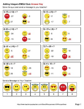 Adding Integers Emoji Quiz