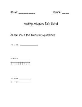Adding Integers Exit Ticket