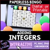 Adding Integers FREE Interactive Bingo Free Review Game