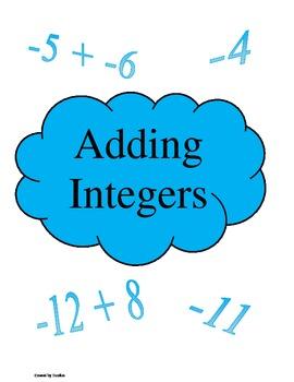 Adding Integers File Folder Game