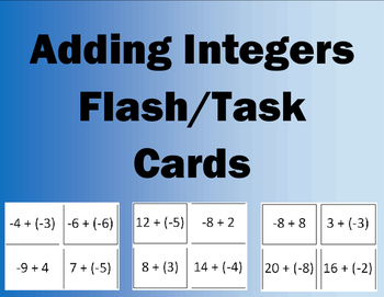 Adding Integers Flash/Task Cards  (28 Cards)