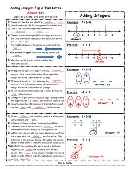 Adding Integers Flip n' Fold Notes