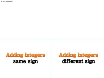 Adding Integers Foldable - Interactive notebook
