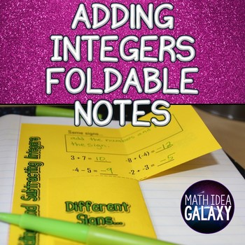 Adding Integers Foldable Notes for Interactive Notebook
