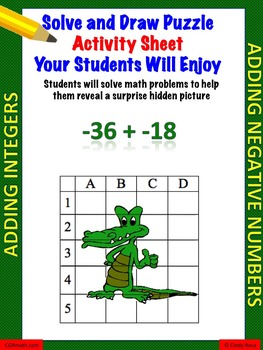 Adding Integers Fun Puzzle Activity Worksheet