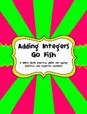 Adding Integers Go Fish Game