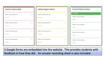 Adding Integers Google Website Activity – 3 Different Paths