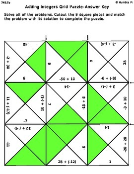 Adding Integers Grid Puzzle- 7.NS.1b