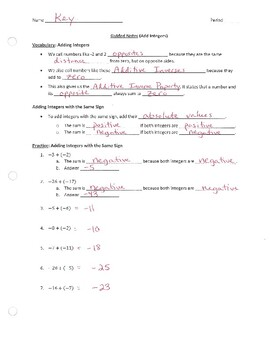 Adding Integers (Guided Notes)