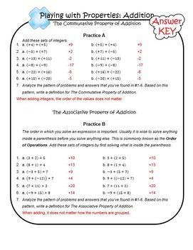 Adding Integers Key Lesson 7.NS.A.1.A