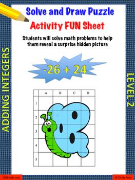 Adding Integers Level 2 Fun Puzzle Activity Worksheet