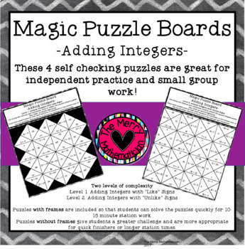 Adding Integers Magic Puzzle Boards