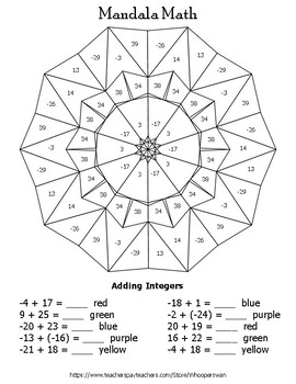 Adding Integers Mandala Math Color by Number