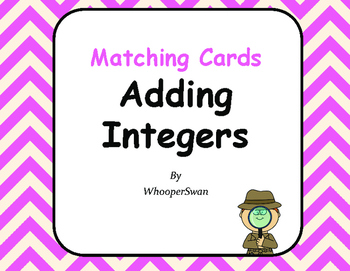 Adding Integers Matching Cards