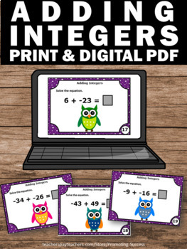 Adding Integers Task Cards, 7th Grade Math Review Activity