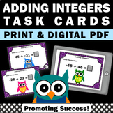 Adding Integers Task Cards Math Review Distance Learning Packet Digital Print