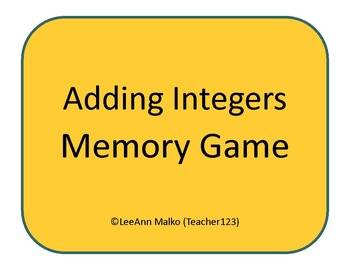 Adding Integers Memory Game