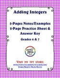 Adding Integers - Middle School Math