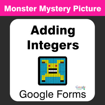 Adding Integers - Monster Mystery Picture - Google Forms