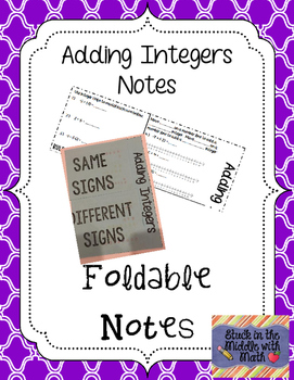 Adding Integers Foldable