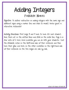 Adding Integers Foldable