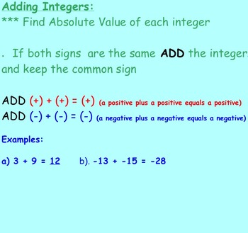 Addition of Integers Notes and Assignments on Smartboard