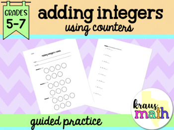 Adding Integers Notes using Counters