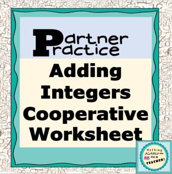 Adding Integers Partner Practice Matching Worksheet