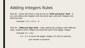 Adding Integers Powerpoint Lesson Plans
