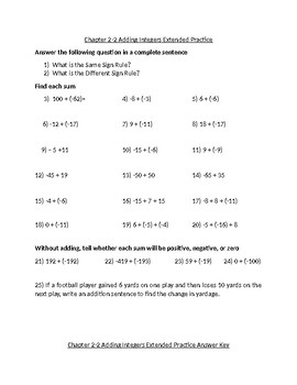 Adding Integers Practice Problems