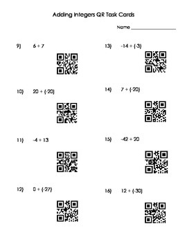 Adding Integers QR Task Cards
