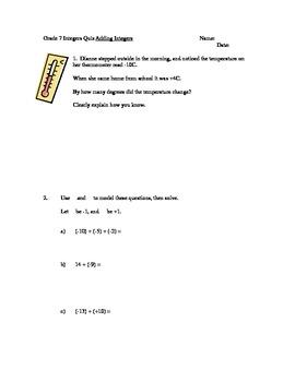 Adding Integers Quiz