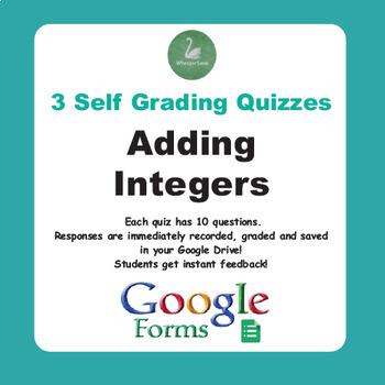 Adding Integers Quiz  (Google Forms)