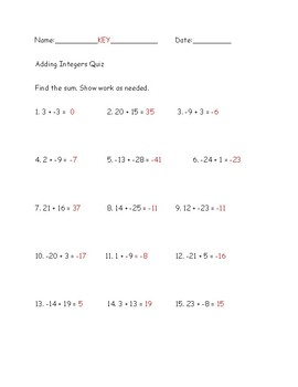Adding Integers Quiz - Key Included