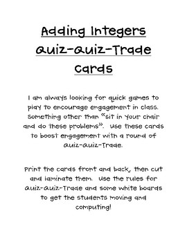 Adding Integers Quiz Quiz Trade Cards