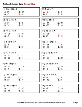 Adding Integers Quiz - Test - Assessment - Worksheets