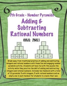 Adding Integers & Rational Numbers-Number Pyramid