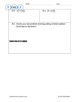 Adding Integers & Rational Numbers Worksheet