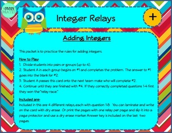 Adding Integers Relay