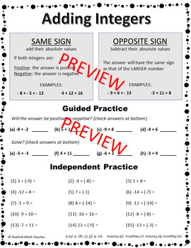 Adding Integers Reteach Worksheet Pack