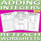 Adding Integers Reteach Worksheet Pack