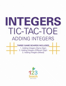 Adding Integers Review Activity - Partner Tic Tac Toe