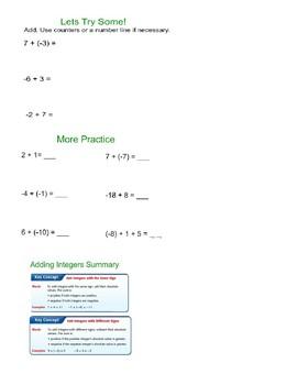 Adding Integers Rule