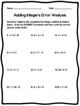 Adding Integers Lesson - Guided Notes, Error Analysis, and Assignment