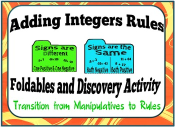 Adding Integers Rules:  Foldables and Discovery Activity