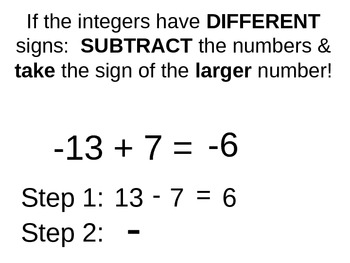 Worksheets Adding Integers Rules adding integers rules with by olivia penn teachers pay examples powerpoint addition