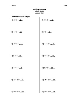 Adding Integers Same Sign WS