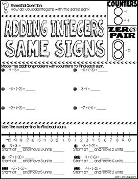 Adding Integers Same Signs Doodle Notes