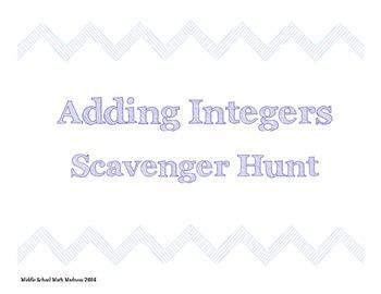 Adding Integers Scavenger Hunt
